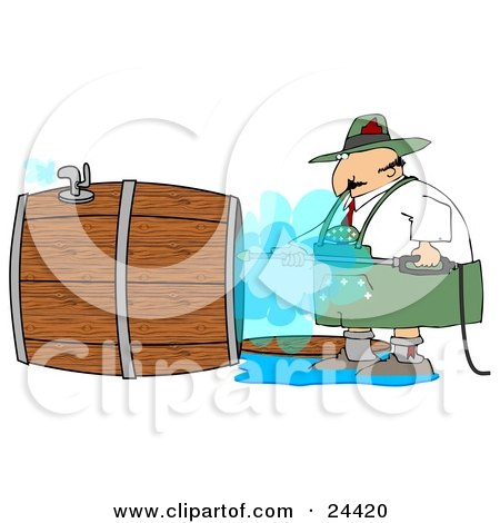 Clipart Illustration of a Oktoberfest Man Using A Power Washer To Clean The Inside Of A Wooden Beer Keg by djart