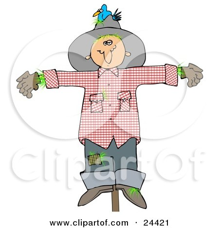 Clipart Illustration of a Depressed Scarecrow On A Post, With A Bluebird Nesting In His Hat by djart