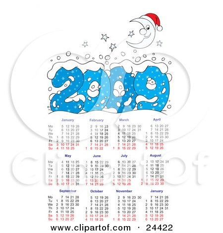 Clipart Illustration of a Smiling Crescent Moon And Stars With Snow Above A 2009 Calendar, Showing All Of The Months by Alex Bannykh