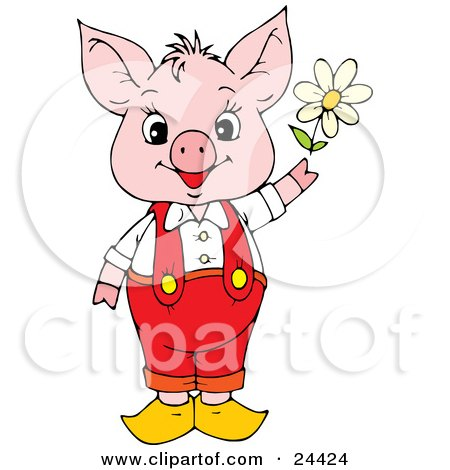 Clipart Illustration of an Adorable Pink Piggy In Red Pants And Suspenders, Holding A White Spring Daisy by Alex Bannykh