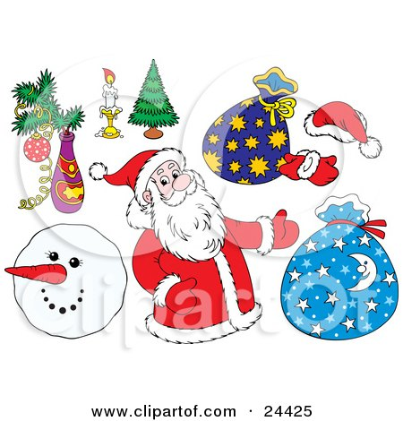 Clipart Illustration of a Christmas Collection Of Santa, Toy Sacks, Mittens, A Santa Hat, Christmas Tree, Burning Candle, And Snowman by Alex Bannykh