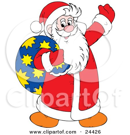 Clipart Illustration of Santa Claus Being Jolly, Waving And Carrying A Toy Sack Over His Shoulder by Alex Bannykh