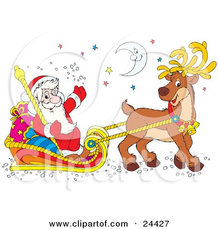 Clipart Illustration of Santa Smiling And Waving, Holding A Staff And Riding In A Sleigh With Sacks, Being Pulled By A Reindeer Under The Moon And Stars by Alex Bannykh