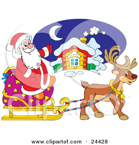 Clipart Illustration of a Cute Brown Reindeer Pulling Santa On A Sleigh With A Large Toy Sack, In Front Of A Home by Alex Bannykh