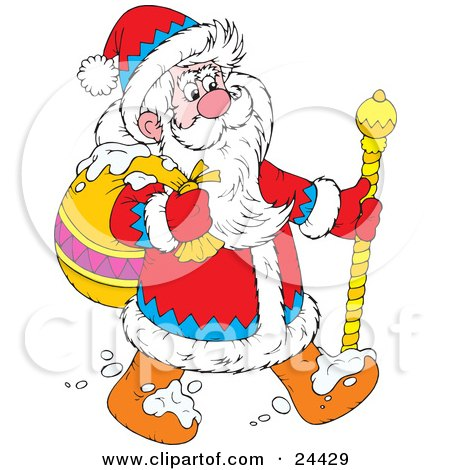 Clipart Illustration of Santa In A Blue, Red And White Suit, Walking Through The Snow With A Golden Staff And Carrying A Toy Sack by Alex Bannykh