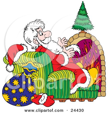 Clipart Illustration of Saint Nicholas Sitting In A Chair In Front Of A Fireplace, Warming His Hands While Delivering Presents  by Alex Bannykh