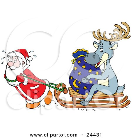 Clipart Illustration of Santa Sweating And Pulling A Reindeer And Toy Sack On A Wooden Sled by Alex Bannykh