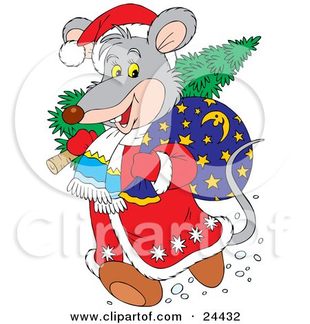 Clipart Illustration of a Gray Mouse Dressed As Santa, Carrying A Tree And Toy Sack Over His Shoulders by Alex Bannykh