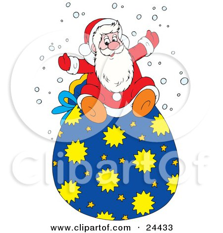 Clipart Illustration of St Nicholas In His Red And White Suite, Sitting On Top Of His Toy Sack And Holding His Arms Out In The Snow by Alex Bannykh