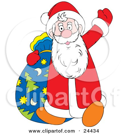 Clipart Illustration of Santa Waving Hello While Walking With His Christmas Tree, Star And Moon Patterned Toy Sack by Alex Bannykh