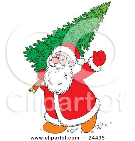 Clipart Illustration of Santa Waving And Carrying A Large Christmas Tree by Alex Bannykh