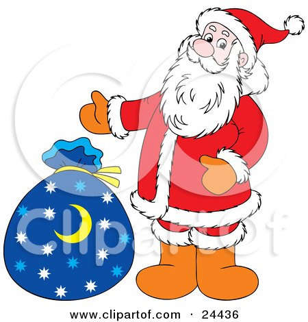 Clipart Illustration of Saint Nick Standing Beside His Blue Toy Sack With Star And Crescent Moons On It by Alex Bannykh