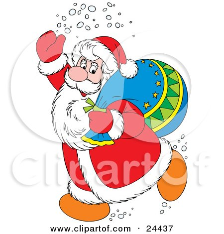 Clipart Illustration of Santa Claus In A Red And White Suit, Waving And Treading Snow, Carrying A Toy Sack Over His Shoulder by Alex Bannykh