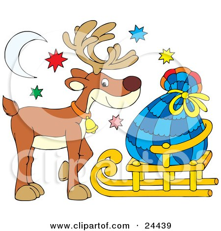 Clipart Illustration of a Cute Brown Reindeer Wearing A Bell And Standing Under The Moon And Stars With Santas Sack On A Sled by Alex Bannykh