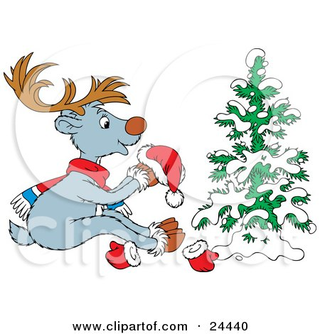 Clipart Illustration of a Cute Gray Reindeer With Brown Antlers, Wearing A Scarf And Holding A Santa Hat While Sitting In Front Of A Snow Flocked Tree by Alex Bannykh