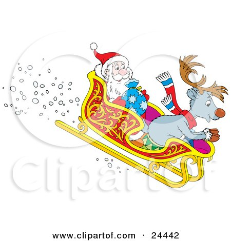 Reindeer And Santa Claus Riding In A Sleigh While Speeding Downhill Posters, Art Prints