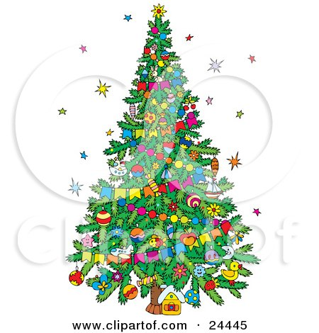 Stars Around A Decorated Christmas Tree With Garlands And Ornaments Posters, Art Prints