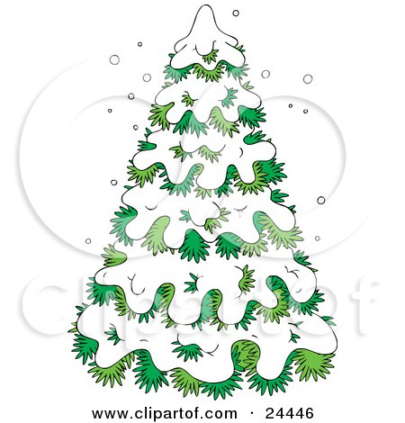 Clipart Illustration of an Evergreen Tree Flocked In Snow On A Wintry Day by Alex Bannykh