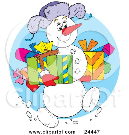 Clipart Illustration of a Jolly Snowman Wearing A Purple Hat, Carrying Gifts And Walking Through The Snow On Christmas by Alex Bannykh