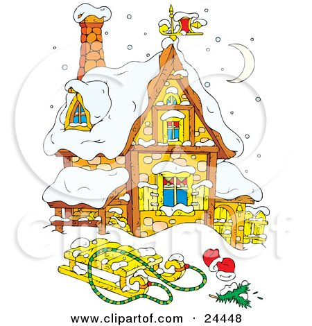 Clipart Illustration of a Cute Stone House Under A Crescent Moon, Covered In Snow, With A Sled And Mittens In The Front Yard by Alex Bannykh