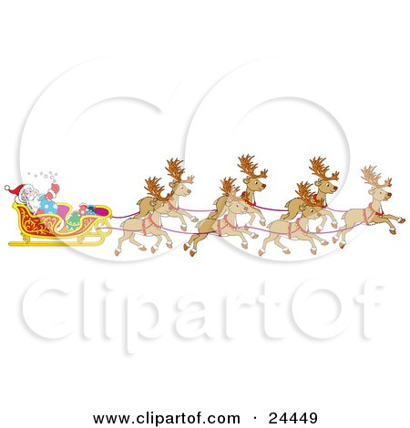 Clipart Illustration of a Team Of Santa's Reindeer Pulling The Sleigh On Christmas Eve by Alex Bannykh