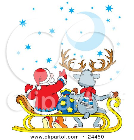 Clipart Illustration of Santa And A Reindeer Sitting On A Sled And Gazing Up At The Stars And Moon by Alex Bannykh