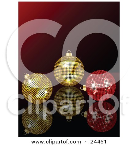 Clipart Illustration of Two Golden And One Red Mirror Disco Ball Ornaments On A Reflective Surface Over A Gradient Red Background by elaineitalia