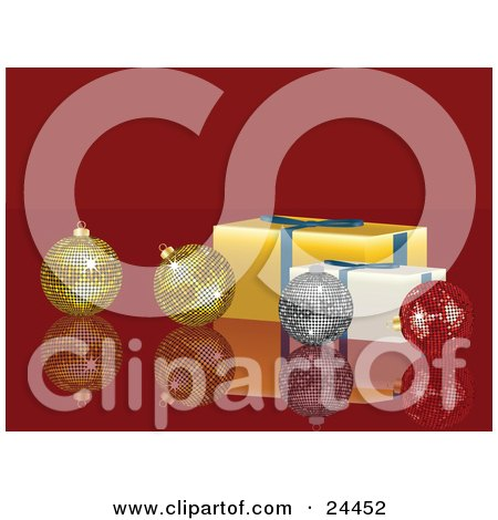 Clipart Illustration of Two Gold, One Silver And One Red Disco Ball Ornaments On A Reflective Red Surface With Yellow And White Presents by elaineitalia