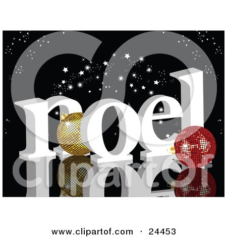 Clipart Illustration of Gold And Red Disco Ball Ornaments With White Noel Under A Starry Black Sky, On A Reflective Surface by elaineitalia