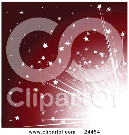 Bright Light With Stars, Bursting From A Corner Over A Red Background Posters, Art Prints