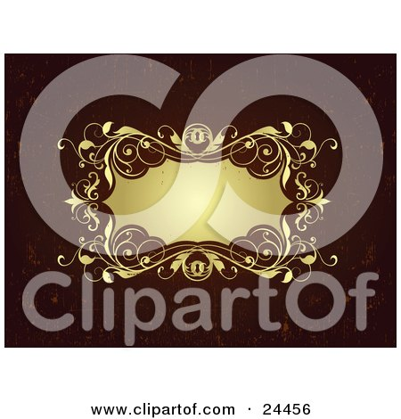Clipart Illustration of a Blank Gold Label Bordered With Vines And Key Holes Over A Grunge Brown-Red Background by OnFocusMedia