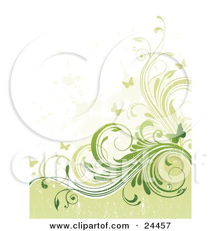 Clipart Illustration of a Grunge Textured Background With Pale And Dark Green Curling Vines And Fluttering Butterflies by OnFocusMedia