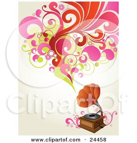 Clipart Illustration of a Vintage Phonograph Playing Music, Shown As Red, Pink And Green Circles, Flowers And Leaves Over An Off White Background by OnFocusMedia