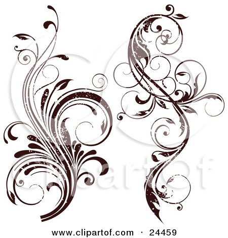 Clipart Illustration Of Two Grunge Worn Flourished Vines Over A White Background