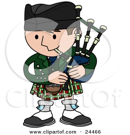 Clipart Illustration of a Man Playing Bagpipes And Wearing A Kilt In Scotland by AtStockIllustration