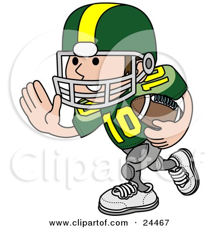 Clipart Illustration Of A Football Player Athlete In A Green And Yellow Uniform Running With The Ball In Hand