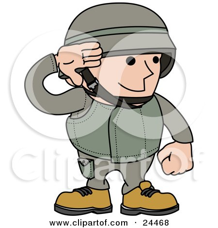 Male Army Soldier In A Green Uniform And Helmet, Saluting With His Hand Posters, Art Prints