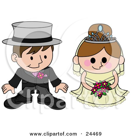 Clipart Illustration of a Blushing Bride Standing Beside Her Groom During The Wedding Ceremony by AtStockIllustration