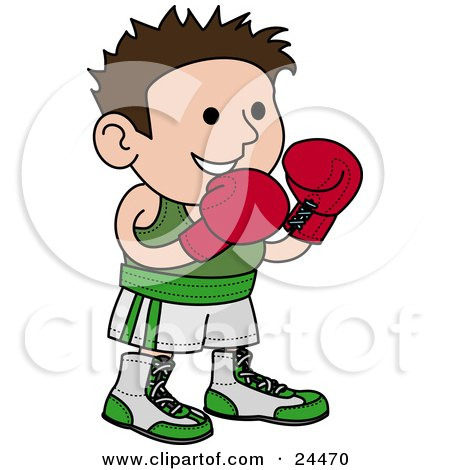 Clipart Illustration of a Male Boxer In A Green And White Unfiorm, Wearing Red Gloves And Waiting For A Fight by AtStockIllustration