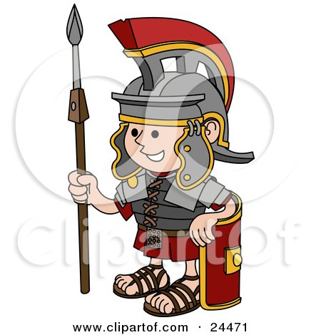 Clipart Illustration of a Young Roman Soldier Man In A Helmet, Leaning Against His Shield And Holding A Spear by AtStockIllustration