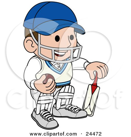 Smiling Cricket Player With A Helmet, Ball And Bat Posters, Art Prints