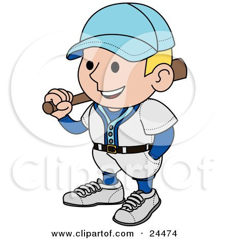Clipart Illustration of a Smiling Baseball Player Man In A Blue And White Uniform, Resting A Bat On His Shoulder by AtStockIllustration