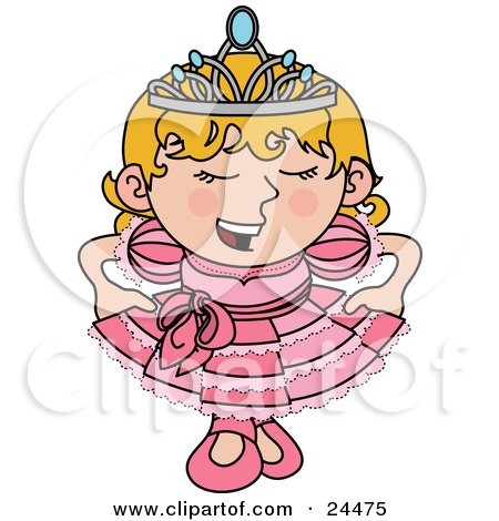 Clipart Illustration Of A Spoiled Blond Princess Girl In A Pink Dress And Crown