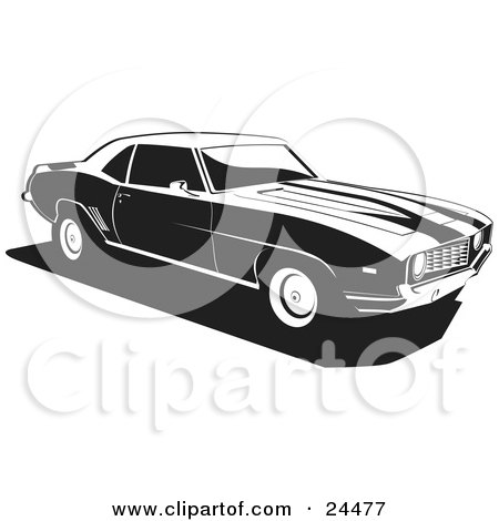 Clipart Illustration of a 1970 Chevy Camaro Muscle Car With Racing Stripes On The Hood by David Rey