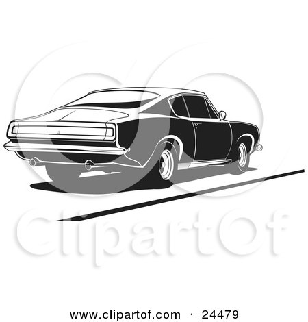 Clipart Illustration of a 1970 Barracuda Muscle Car With Dual Exhaust Pipes, Parked, In Black And White by David Rey