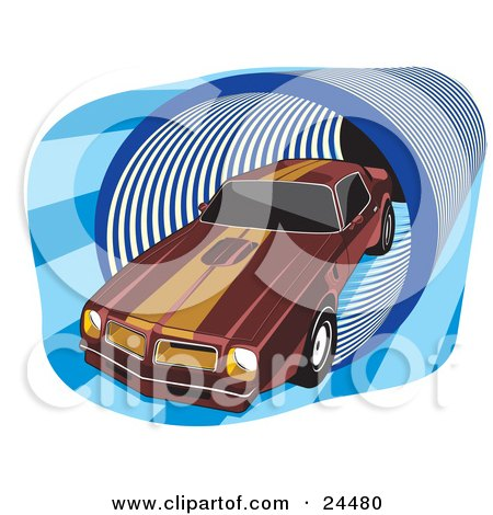 Clipart Illustration of a 1977 Dark Red Pontiac Trans Am With Orange Racing Stripes On The Roof And Hood, Driving Through A Blue Tunnel by David Rey