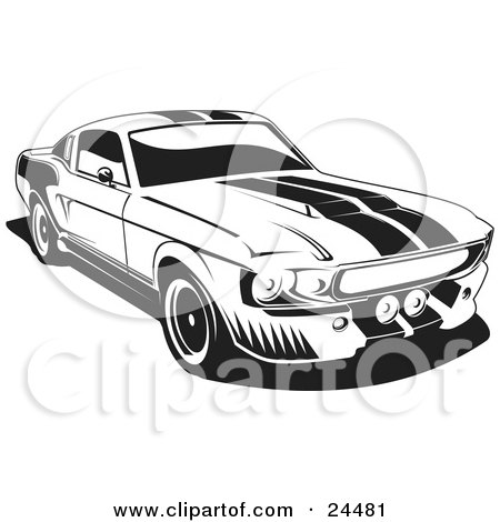 Clipart Illustration of a 1967 Ford Mustang Gt500 Muscle Car With Racing Stipes On The Hood And Roof by David Rey