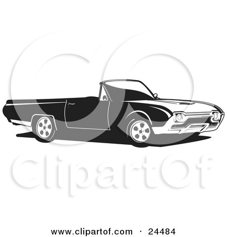Clipart Illustration of a Convertible Ford Thunderbird Car As Seen From The Passenger Side, Black And White by David Rey