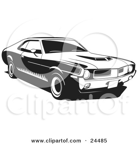Clipart Illustration of a 1970 Javelin Muscle Car Made By Amc, With Hood Scoops And Side Decals by David Rey