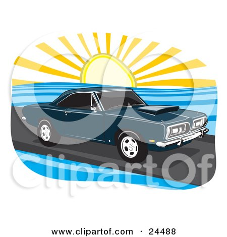 Clipart Illustration of a Navy Blue 1968 Plymouth Barracuda Muscle Car Driving On A Coastal Road At Sunset by David Rey